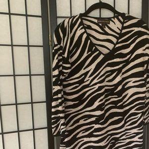 Black & Tan Tiger Stripe V-Neck Sweater